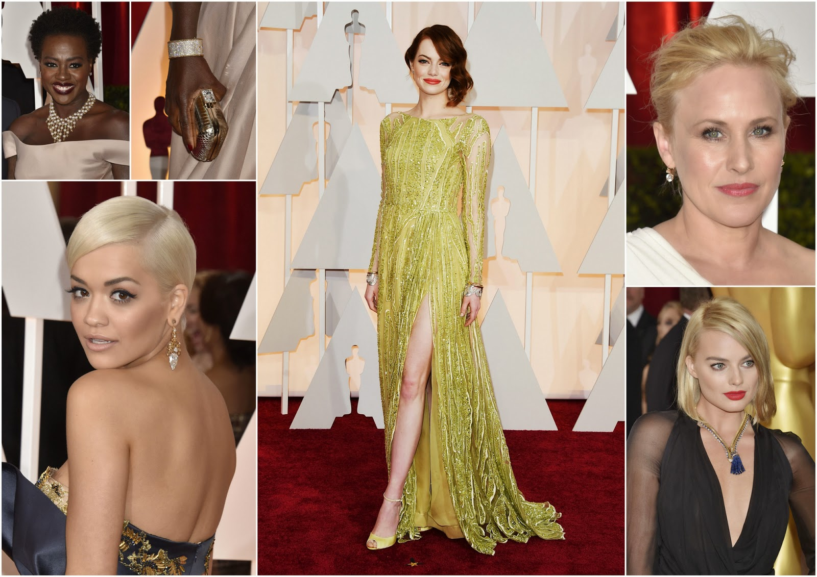Celebrities that wore GOLD jewelry to the Academy Awards