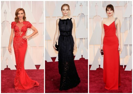 Giuliana Rancic, Sienna Miller & Dakota Johnson at The Oscars 2015.  Photo credit: Jason Merritt/Getty Images.