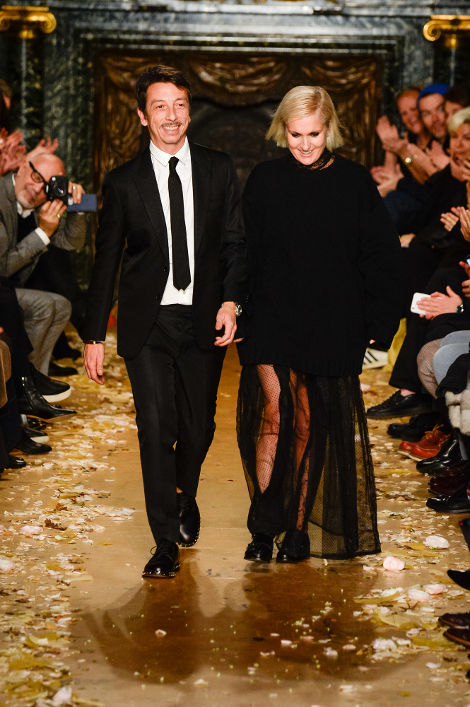 The creative directors of Valentino, Maria Grazia Chiuri and Pierpaolo Piccioli at PFW 2016.