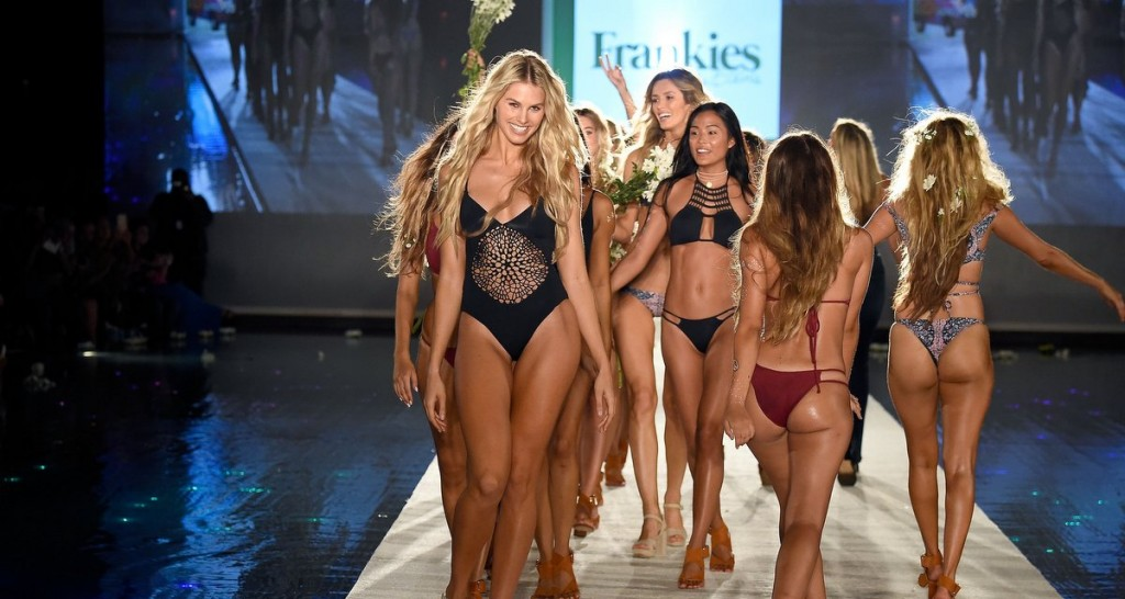 MIAMI BEACH, FL - JULY 15:  Models walk the runway during the finale at the Frankie's Bikinis 2017 Collection at SwimMiami - Runway at W South Beach on July 15, 2016 in Miami Beach, Florida.  (Photo by Frazer Harrison/Getty Images for Frankie's Bikinis)