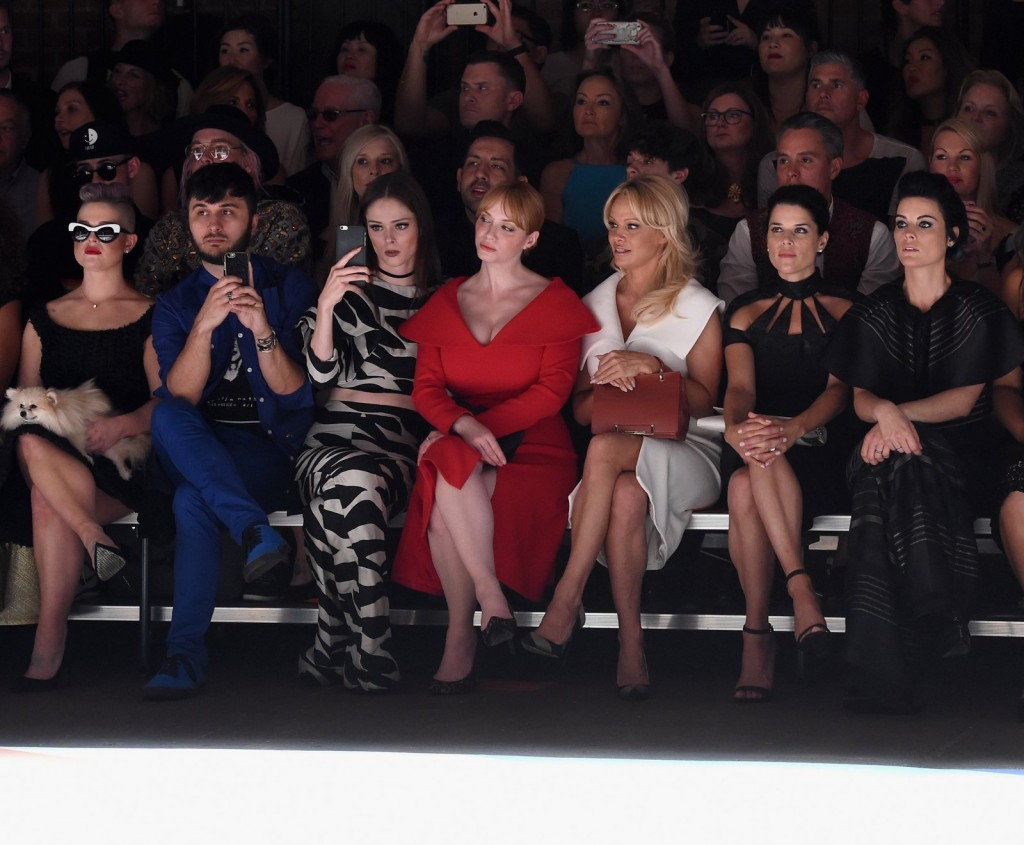 NEW YORK, NY - SEPTEMBER 10:  (L-R) Kelly Osbourne, Brad Walsh, Coco Rocha, Christina Hendricks, Pamela Anderson, Neve Campbell and Jamie Alexander attend the Christian Siriano fashion show during New York Fashion Week: The Shows at ArtBeam on September 10, 2016 in New York City.  (Photo by Dimitrios Kambouris/Getty Images for New York Fashion Week: The Shows)