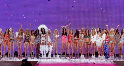 A model walks the runway at the 2015 Victoria's Secret Fashion Show in New York City on November 10th, 2015