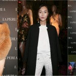 Celebrities Kendall Jenner, Liu Wen, Mariacarla Boscono at LA PERLA boutique opening in Milan