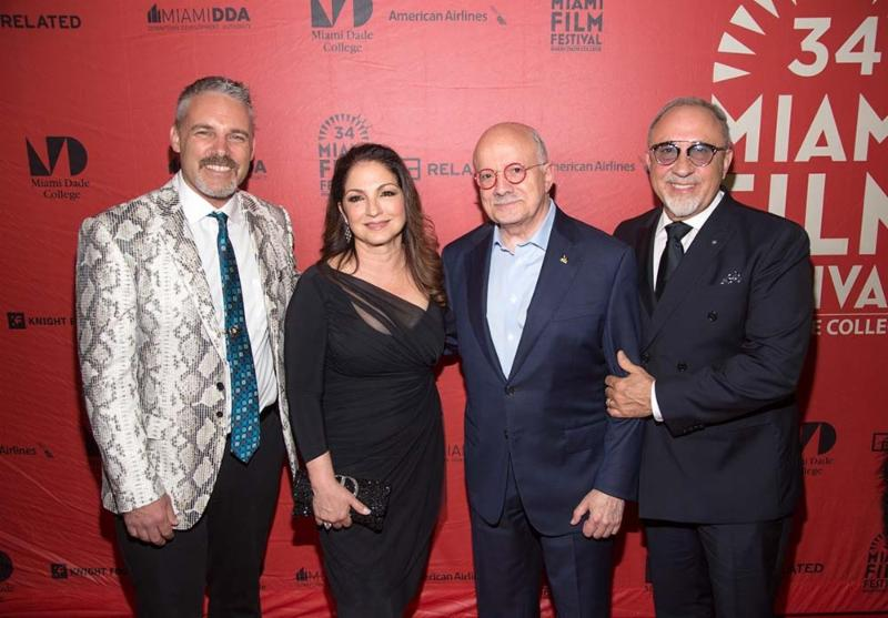 Left to right: Jaie Laplante executive director of MDC's Miami Film Festival Gloria Estefan, Dr. Eduardo J. Padrón President of Miami Dade College, and Emilio Estefan