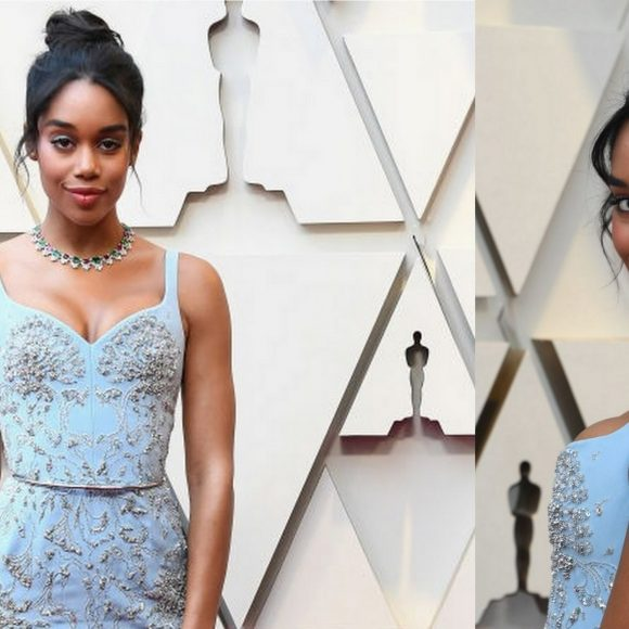 BlacKkKlansman's Laura Harrier Wows in Bespoke Ethical Louis Vuitton Gown Representing RCGD at the Oscars