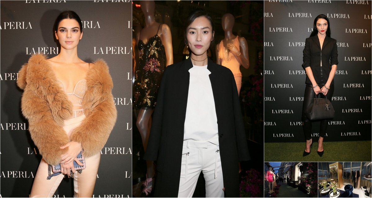 Celebrities Kendall Jenner, Liu Wen, Mariacarla Boscono at LA PERLA boutique opening in Milan
