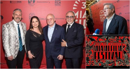 Gloria & Emilio Estefan and director Kenny Ortega at the The Red Carpet for the World Premiere of A CHANGE OF HEART